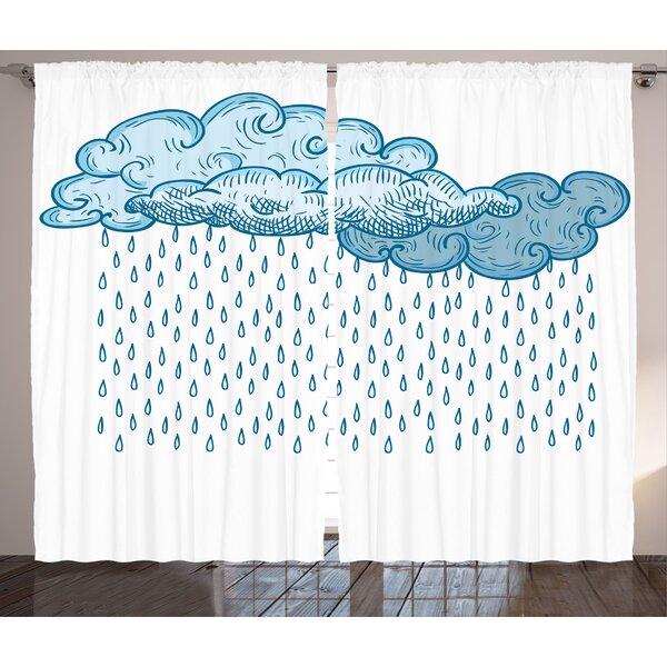Rain Drop Décor Graphic Print Room Darkening Rod Pocket Curtain Panels (Set of 2) by East Urban Home
