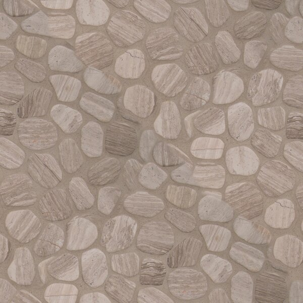 Tumbled 12 x 12 Marble Pebble Mosaic Tile in White by MSI