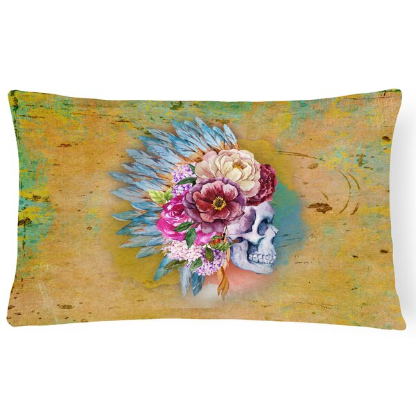 Flowers Skull Lumbar Pillow by East Urban Home
