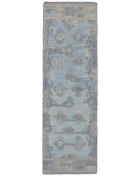 Bevers Hand Flat Woven Wool Light Blue Area Rug by Bungalow Rose