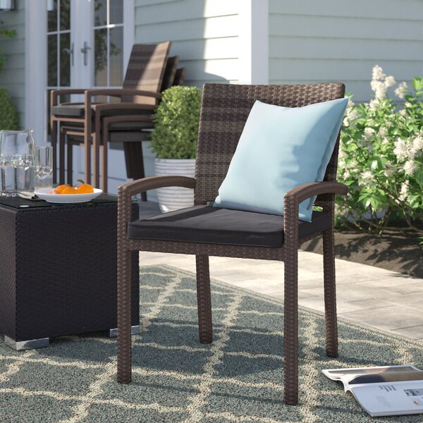 Brighton Stacking Patio Dining Chair with Cushion (Set of 4) by Sol 72 Outdoor