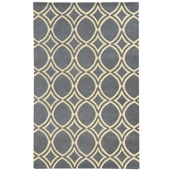 Optic Charcoal/Ivory Geometric Area Rug by Pantone Universe