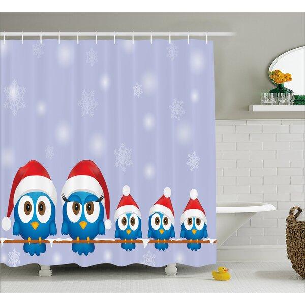 Christmas Fun Birds Santa Hats Shower Curtain by The Holiday Aisle