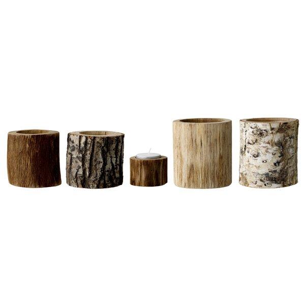 5 Piece Wood Tealight Holder Set by Loon Peak