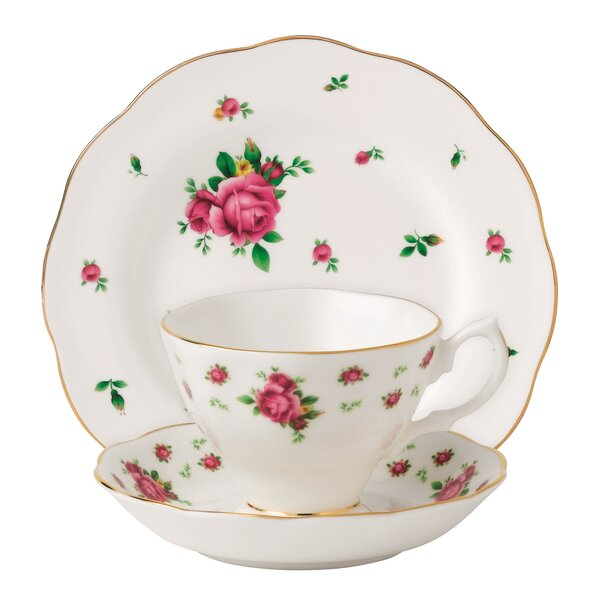 New Country Roses 3 Piece Bone China Teacup Set (Set of 3) by Royal Albert