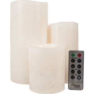 Mottled Series Flameless Pillar Candle Set with Remote