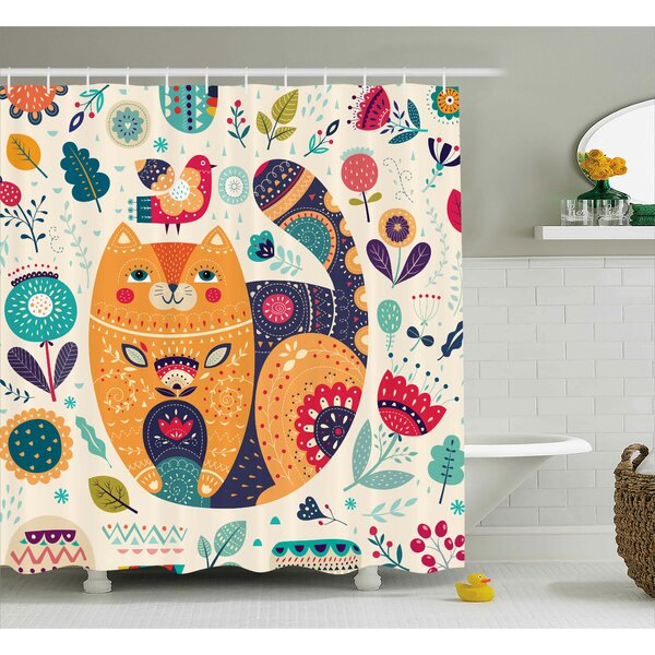 Paisley Cat and Flower Leaf Shower Curtain by East Urban Home