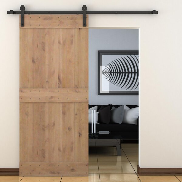 Vertical Slat Primed Sliding Knotty Solid Wood Panelled Alder Slab Interior Barn Door by Calhome