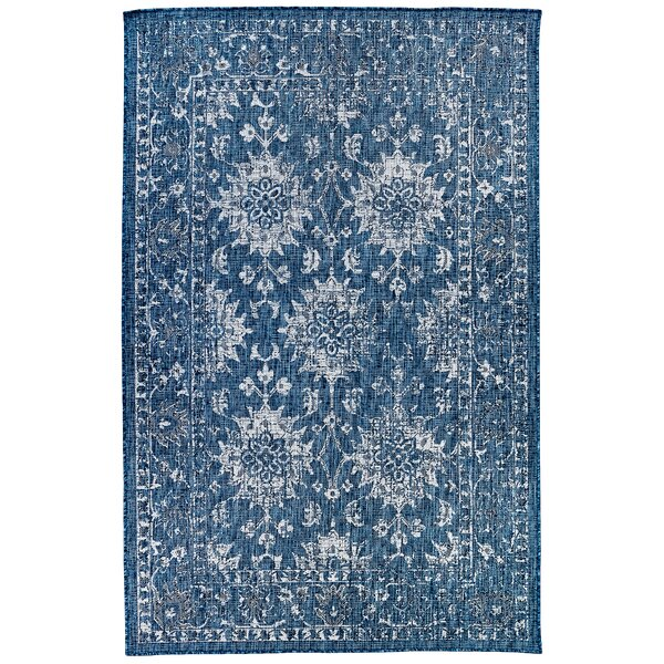 Arverne Floral Navy Indoor/Outdoor Area Rug by Charlton Home