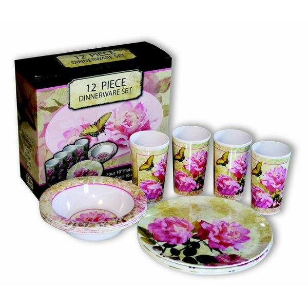 Laurie Floral Melamine 12 Piece Dinnerware Set, Service for 4 by MotorHead Products