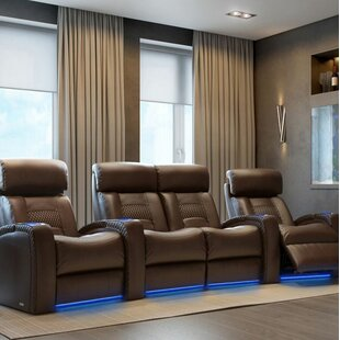 Diamond Stitch Home Theater Row Curved Seating with Chaise Footrest (Row of 4) Latitude Run