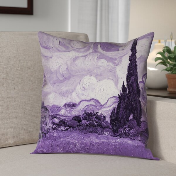 Kinsey Wheatfield with Cypresses Throw Pillow