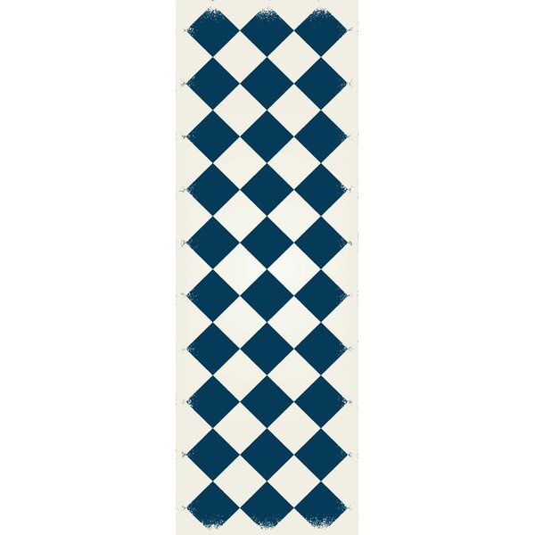 Oblak Diamond European Blue/White Indoor/Outdoor Area Rug by Winston Porter