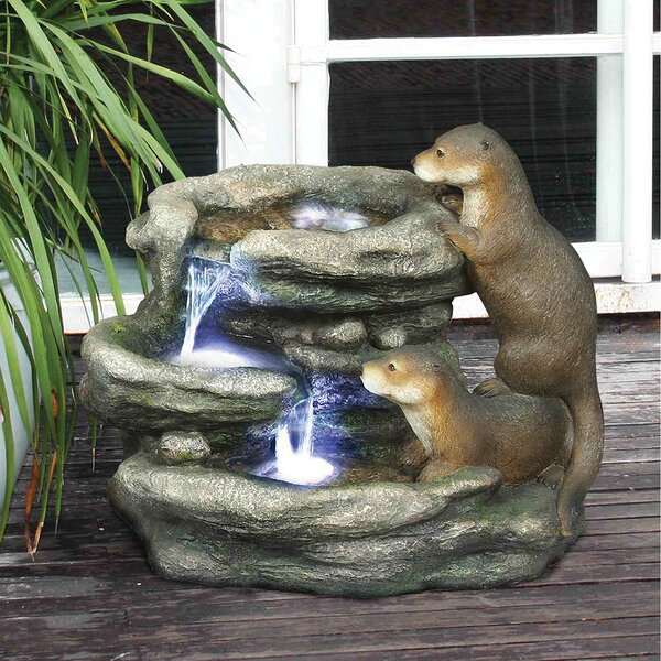 Resin Bright Waters Otters Garden Fountain Sculpture with LED Light by Wildon Home ®