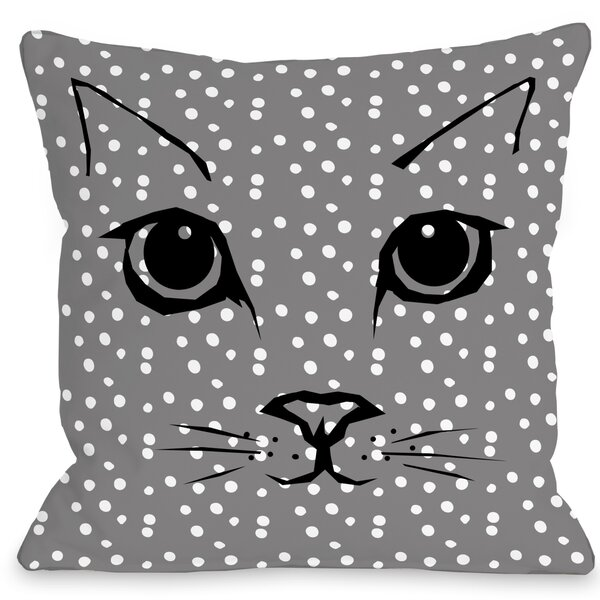 Cat Face Dots Throw Pillow by One Bella Casa
