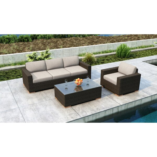 Glen Ellyn 3 Piece Sunbrella Sofa Seating Group Cushions by Everly Quinn Everly Quinn