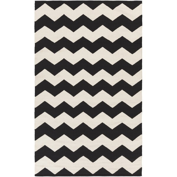 Murguia Black Chevron Area Rug by Ebern Designs