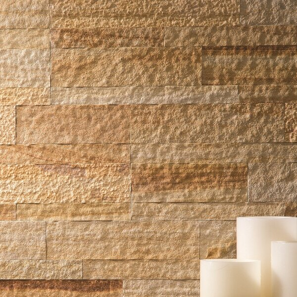 5.9 x 23.6 Natural Stone Peel & Stick Mosaic Tile in Golden Sandstone by Aspect