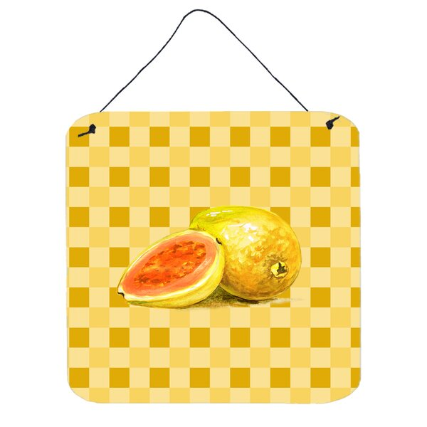 Guava Sliced and Whole on Basketweave Metal Wall Décor by Fleur De Lis Living