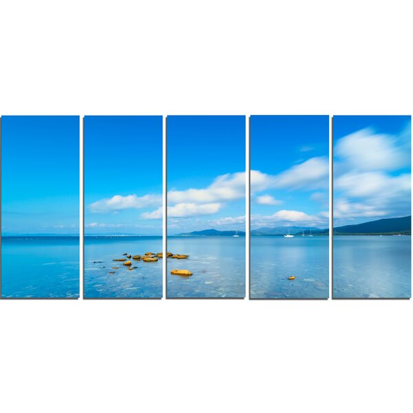 Rocks in a Blue Panoramic Sea Bay 5 Piece Photographic Print on Wrapped Canvas Set by Design Art