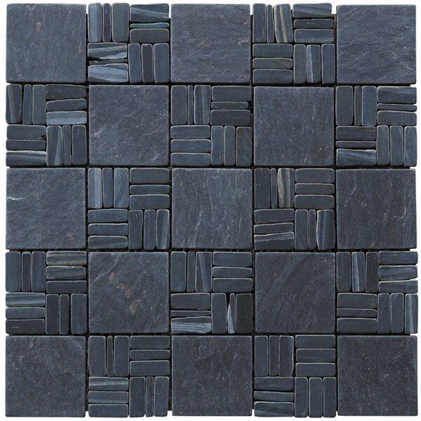 Landscape Wonder Alternate 2 x 2 Natural Stone Mosaic Tile in Black Slate by Intrend Tile