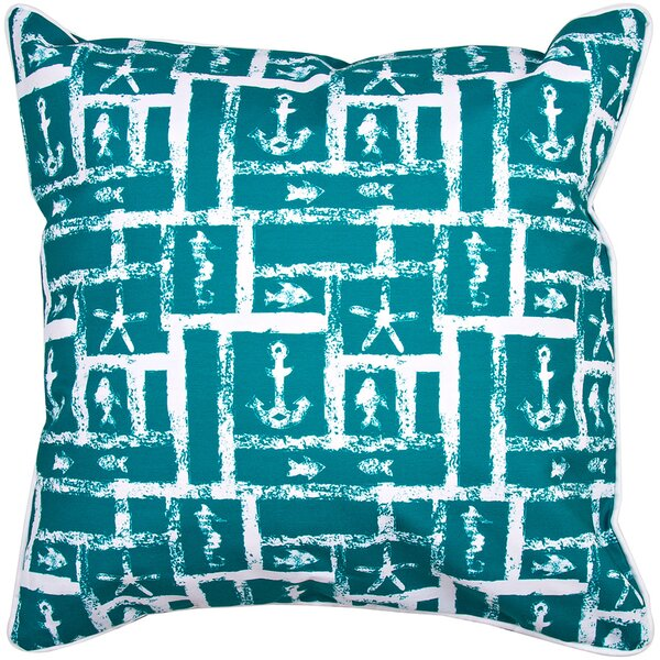 Coastal Ocean Squares Throw Pillow by Island Girl Home