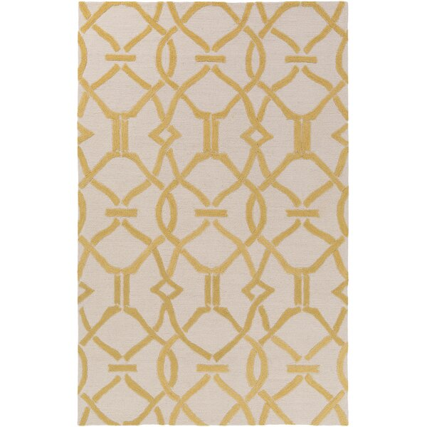 Dyess Hand-Crafted Beige/Yellow Area Rug by Charlton Home