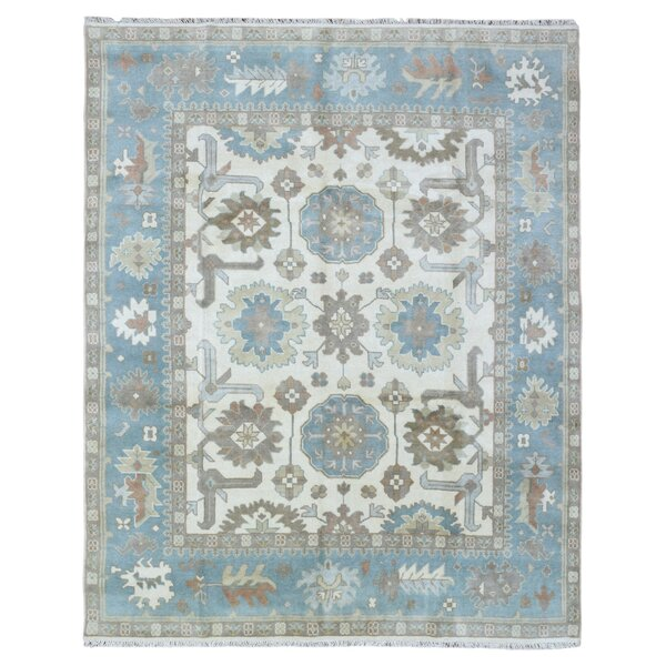 One-of-a-Kind Pacetti Oushak Hand-Woven Wool Blue/Brown Area Rug by Astoria Grand