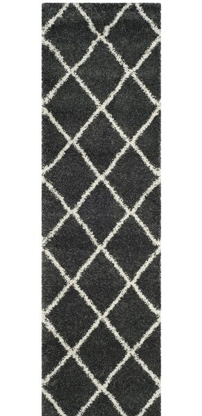 Humberto Shag Dark Grey/Ivory Area Rug by Brayden Studio