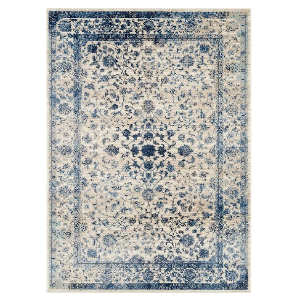 Josepha Vintage Ivory/Blue Area Rug by Ophelia & Co.