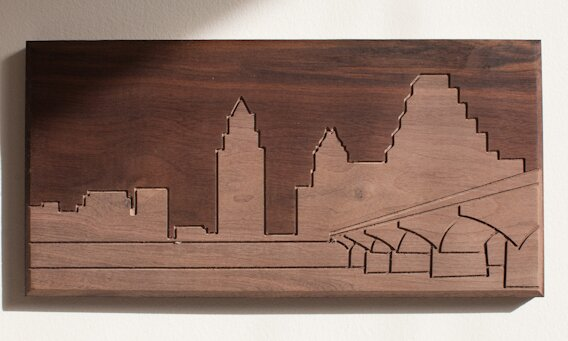 City Skylines Solid Walnut Austin Skyline Routing Wall Art by Dave Marcoullier Wood Routings