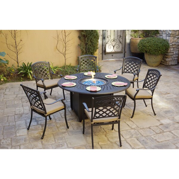 Galion 7 Piece Dining Set with Cushions by Fleur De Lis Living