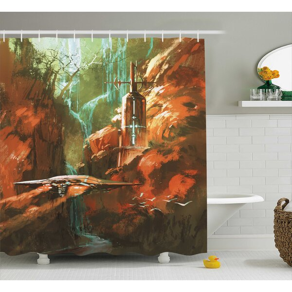Fantasy World Spaceship on Background of Waterfall Lighthouse and Red Canyon Fantasy Print Shower Curtain by Ambesonne