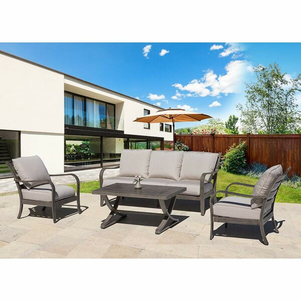 Burdine 4 Piece Sofa Seating Group with Sunbrella Cushions by Foundry Select