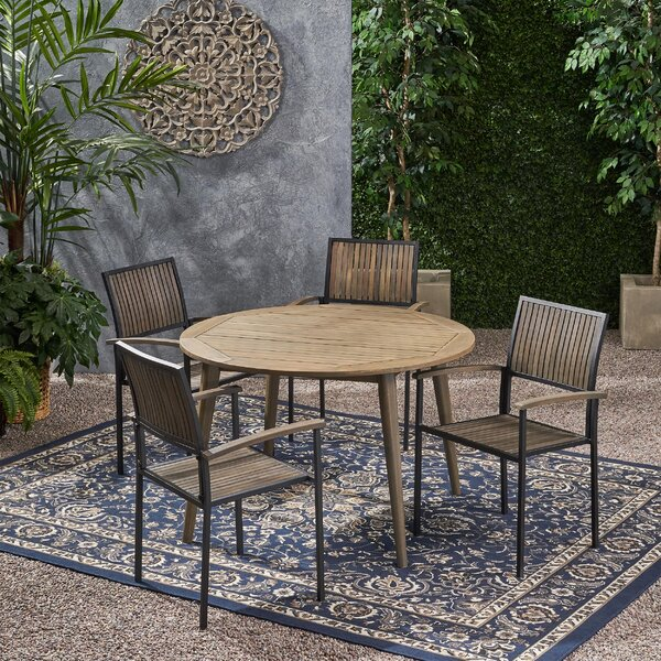 Hartsell Outdoor 5 Piece Dining Set by Union Rustic