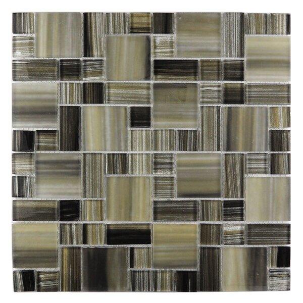 Handicraft II Random Sized Glass Mosaic Tile in Glazed Black sea by Abolos