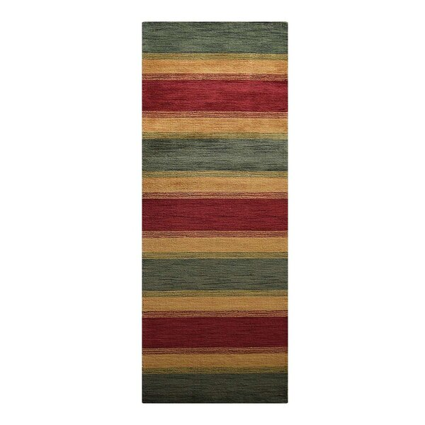 Kenyon Hand-Woven Wool Green/Gold Area Rug by Latitude Run
