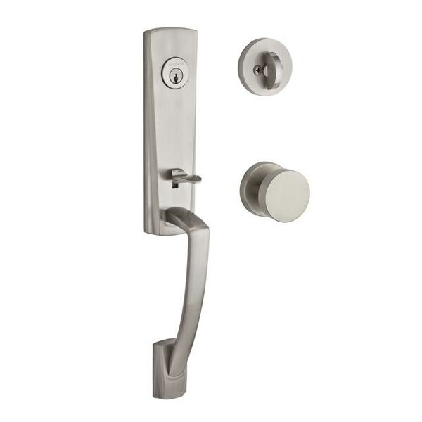 Miami Single Cylinder Handleset with Contemporary Door Knob and Contemporary Round Rose by Baldwin