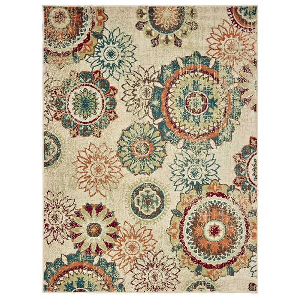 Holcomb Floating Medallions Ivory/Tan Area Rug by Bungalow Rose