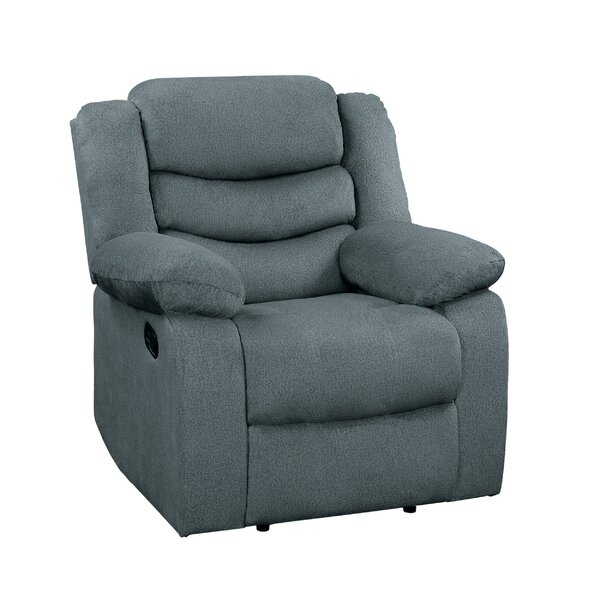 Wooden Transitional Split Back Reclining Chair With Pillow Armrest, Gray W003178993
