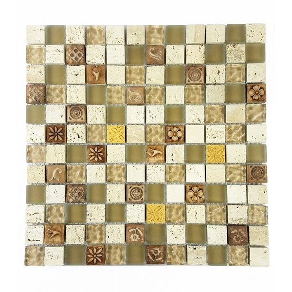Monarchy 1 x 1 Glass and Stone Mosaic Tile in Tuvalu by Abolos