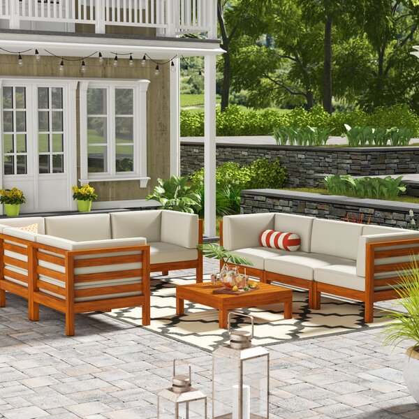 Galindo Outdoor 9 Piece Sectional Seating Group with Cushions by Rosecliff Heights