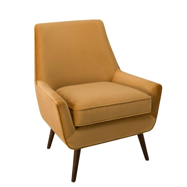 Borders Fabric Upholstered Wooden Side Chair by Corrigan Studio