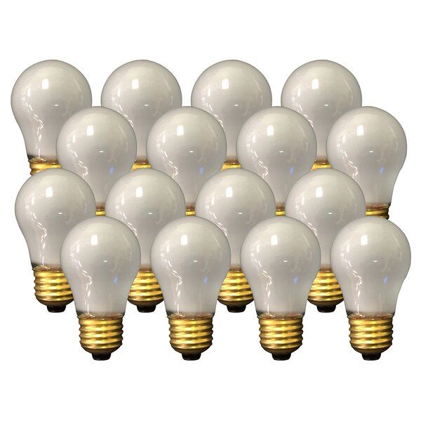 15W Frosted E26 Medium Incandescent Light Bulb (Set of 16) by Royal Designs
