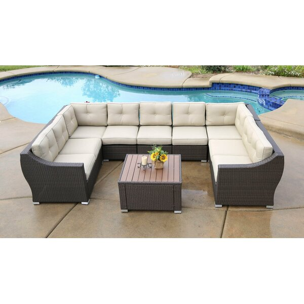 Ehlers 8 Piece Rattan Sectional Seating Group with Cushions by Darby Home Co