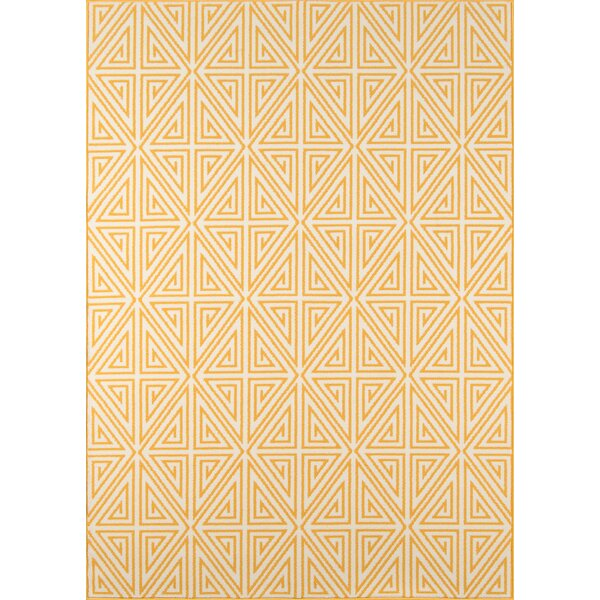 Halliday Yellow/White Outdoor Area Rug by Beachcrest Home