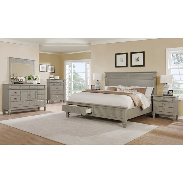 Vasilikos Gray Solid Wood Construction Platform 5 Piece Bedroom Set by Beachcrest Home