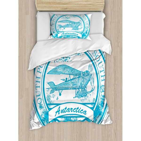 Airplane South Pole Antarctica Words on Retro Blue Stamp Grunge Duvet Set by Ambesonne