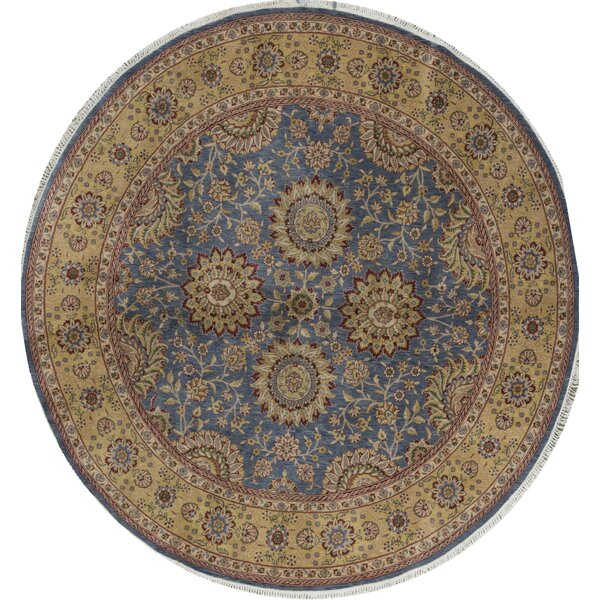 Round Manchuria Oriental Hand-Knotted 8' x 8' Wool Blue/Gold Area Rug