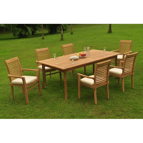 Muhammad 7 Piece Teak Dining Set by Rosecliff Heights